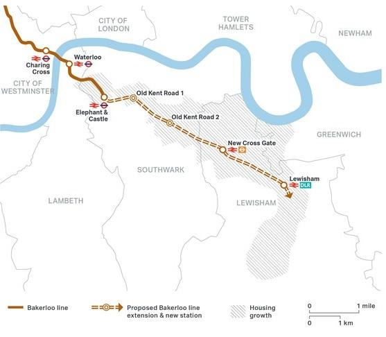 The Bakerloo Line extension is expected to run through Elephant and Castle into Lewisham via Old Kent Road.