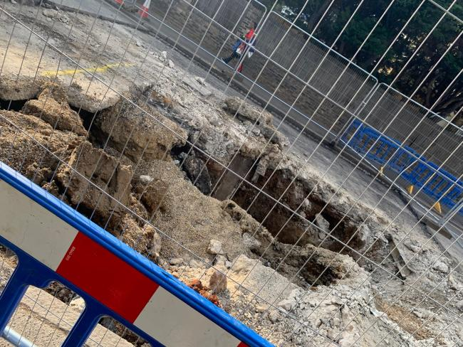 The hole in Worple Road. Picture: Emily Christer