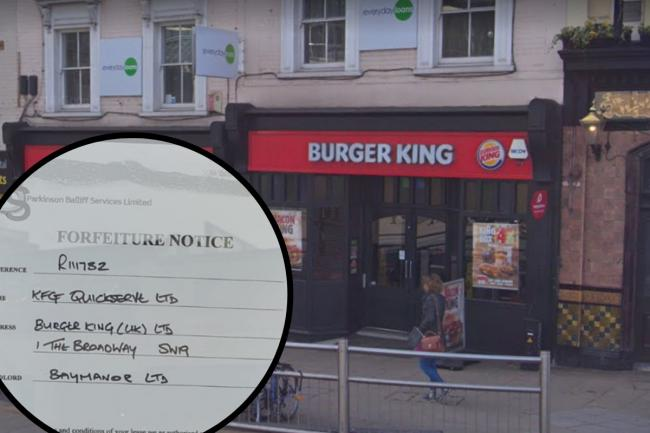 Notice on Burger King in Wimbledon