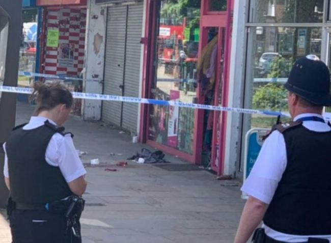 The scene in Mitcham town centre after the stabbing. Picture: @999London