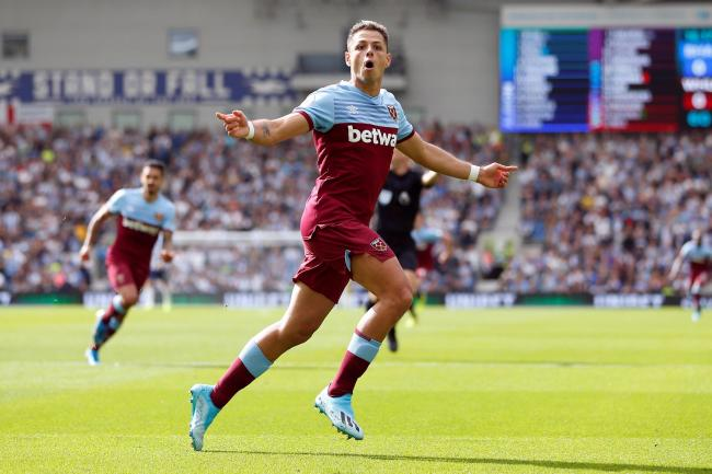 Javier Hernandez celebrates giving the Hammers the lead. Picture: Action Images