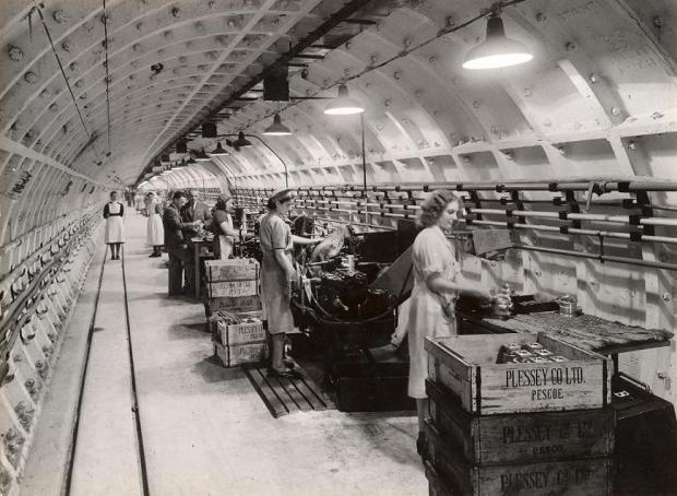 This Is Local London: The Plessey war time factory in the Central Line tunnels, courtesy of London Transport Museum, ltmuseum.co.uk.