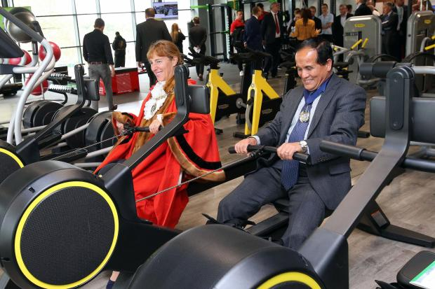 This Is Local London: Mayor of Barnet Caroline Stock and Deputy Mayor Lachhya Gurung try out the rowing machines
