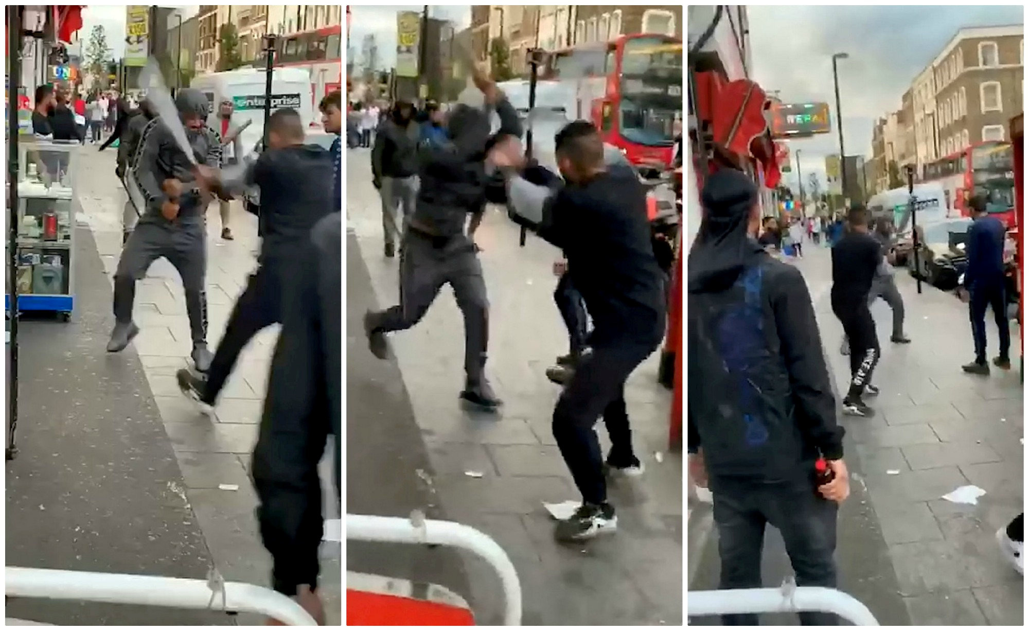 Shocking footage shows 'violent thugs' fight with metal baseball bats in Croydon