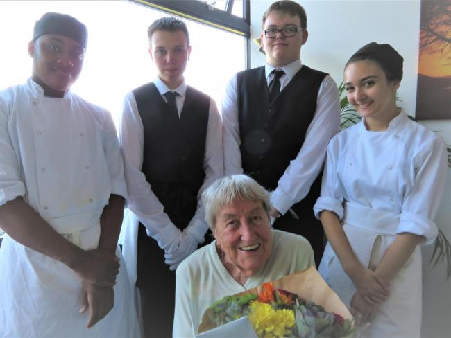 Vera celebrates birthday with students at  Shooters Hill Sixth Form College