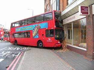 This Is Local London: BROMLEY: Town centre crash sees double-decker bus hit furniture shop