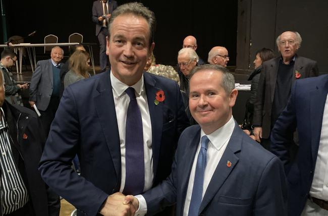 Outgoing MP Nick Hurd (left) with Conservative candidate David Simmonds