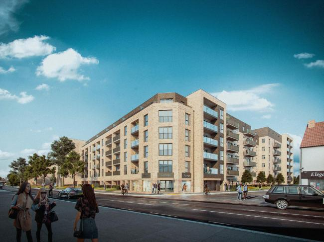 CGI image of the proposed development on the Homebase site on Kingston Road. Credit - Fairview Homes. Free for reuse.