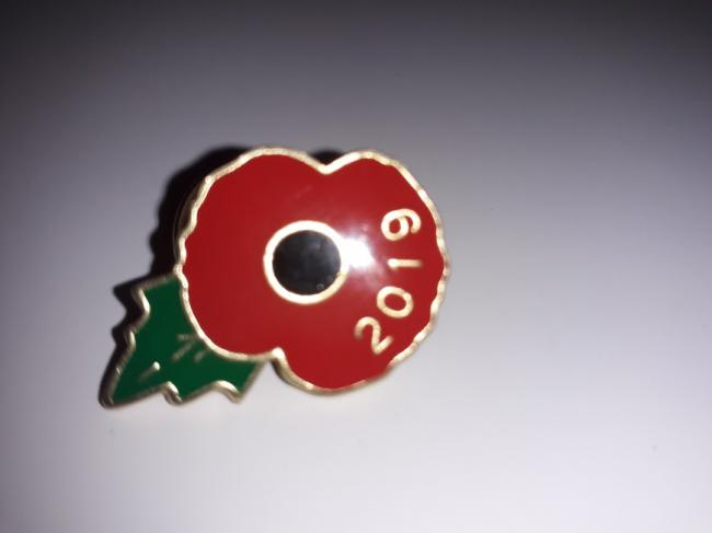 A typical red poppy badge