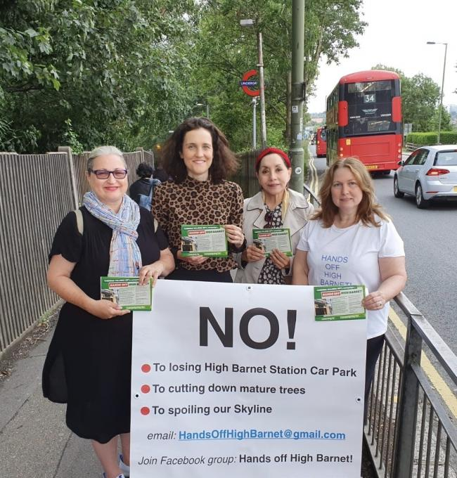 Theresa Villiers MP (second from left) with campaigners against building on High Barnet Tube station car park