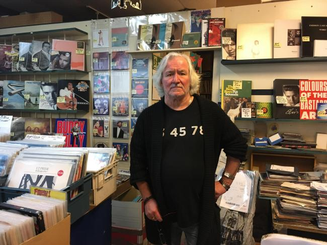 Duncan Barnes runs 101 Records in Croydon. Credit: Tara O\'Connor. Free for use by all BBC wire partners.
