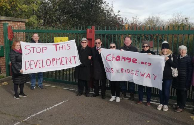 Protestors are against the development of 195 homes at The Ridgeway (Picture: Gareth Thomas)