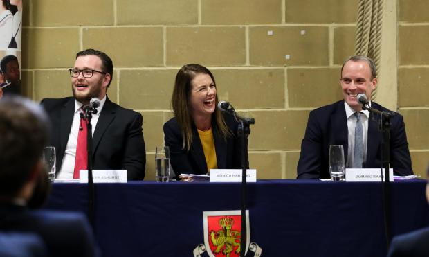 This Is Local London: Hustings between parliamentary candidates Dominic Raab (Con), Monica Harding (LD) and Peter Ashurst at Claremont Fan Court School in Esher