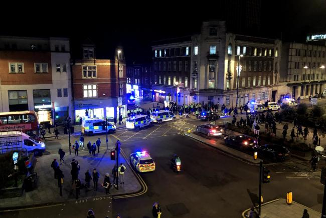 Police respond to the disturbance in Croydon. Image: Ketan Desai (@k3tan) via Twitter