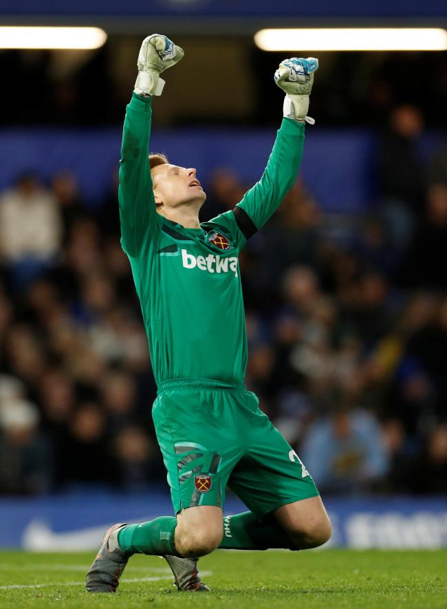 David Martin kept a clean sheet on his West Ham United debut against Chelsea on Saturday. Picture: Action Images