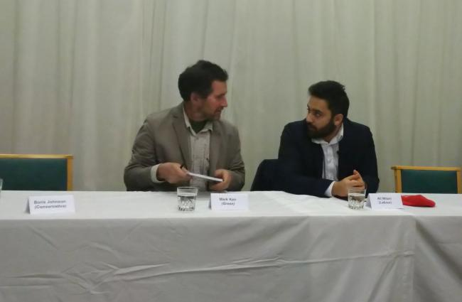 Green candidate Mark Kerr and Labour's Ali Milani at the hustings event for Uxbridge and South Ruislip not attended by Boris Johnson