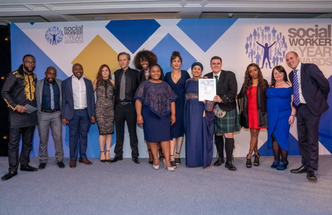 Award winners; team members with TV chef Lorraine Pascale at the Social Worker awards