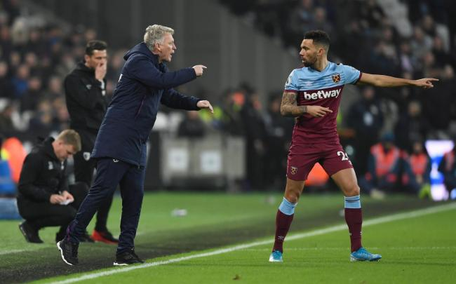 David Moyes passes on instructions to Ryan Fredericks. Picture: Action Images