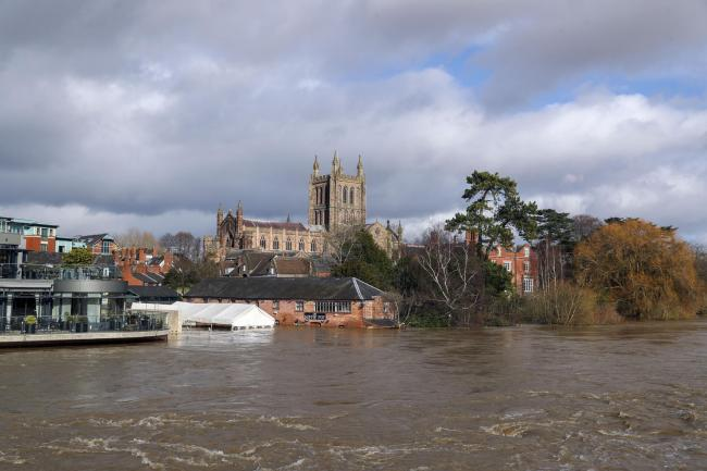 A flooded River Wye in Hereford