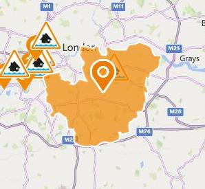 Flood alert in south east London