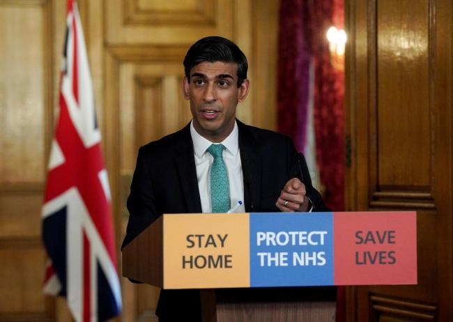 Downing Street handout photo of Chancellor Rishi Sunak holding a digital Covid-19 Press Conference in 10 Downing Street, London.  PA Photo. Picture date: Thursday March 26, 2020. See PA story HEALTH Coronavirus. Photo credit should read: 10 Downing Street