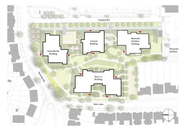 A site plan of the proposed housing scheme