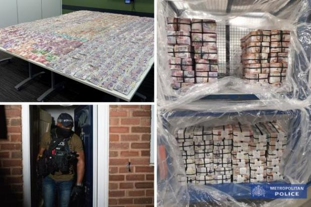 This Is Local London: Photos issued by the Metropolitan Police of raids and cash seized in Operation Venetic, an investigation on Encrochat, a military-grade encrypted communication system used by organised criminals trading in drugs and guns.