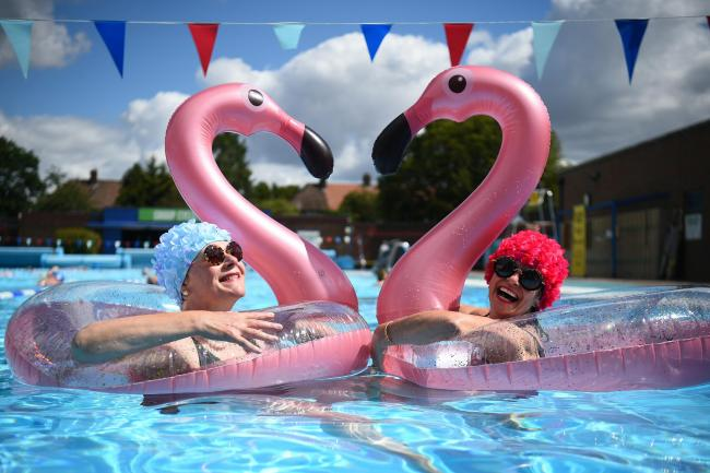 Swimmers Nicola Foster and Jessica Walker enjoy the water at Charlton Lido