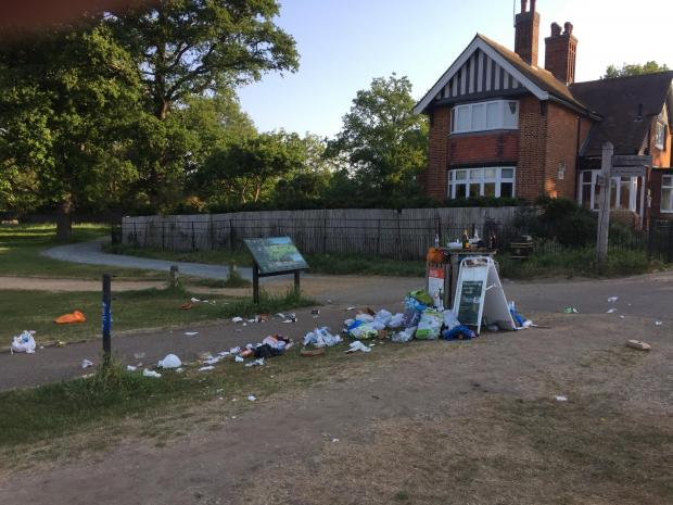 This Is Local London: Litter strewn at the entrance to Richmond Park. Image: Royal Parks