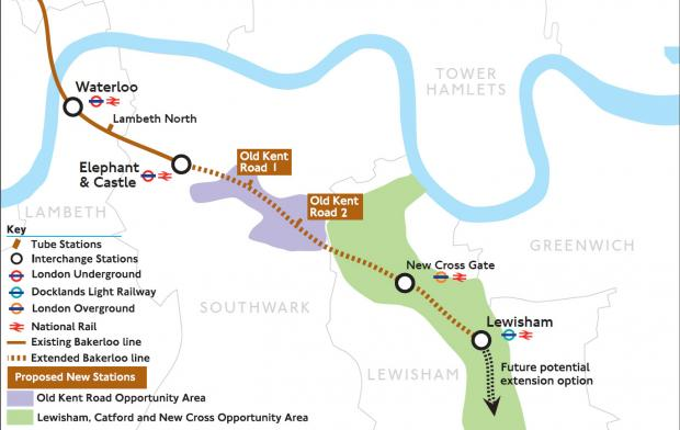 This Is Local London: The proposed route of the extension to Lewisham, which would see two new stations along the Old Kent Road. Image: TfL