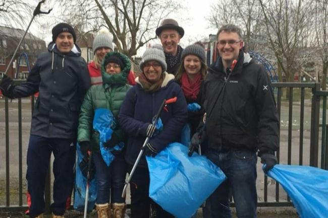 Community litter pick - Cllrs Paul Kohler (back, centre), Hina Bokhari (front, centre) and Anthony Fairclough (right)