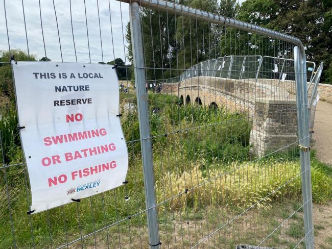 The FIve Arches Bridge in Footscray Meadow, south east London, has been fenced off by police after incidents of people jumping and swimming in the area.