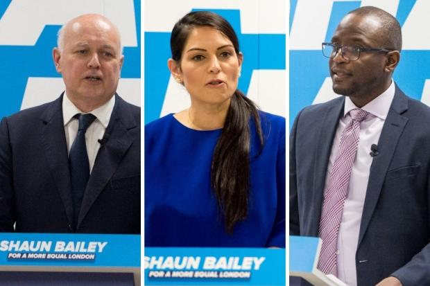 This Is Local London: Iain Duncan Smith (left), Priti Patel (centre) and Duwayne Brooks were at the CSJ event to support Mr Bailey (Photos: Shaun Bailey / Twitter)