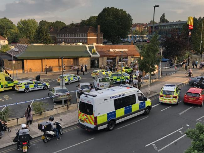 Police are at a McDonald's following a stabbing in Colindale (Photo: Corey Froggatt)