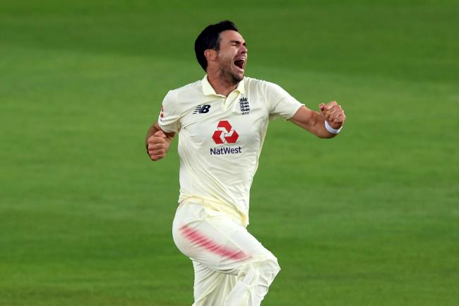 England's James Anderson celebrates taking the wicket of Pakistan's Azhar Ali