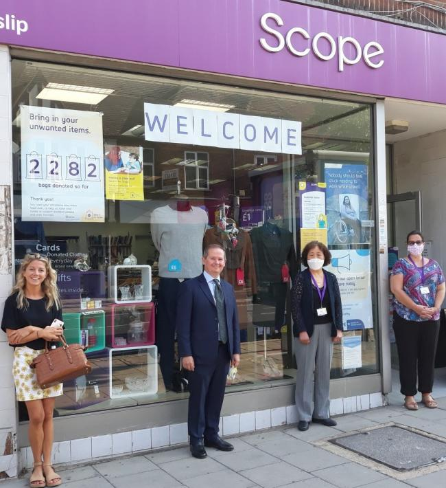 VIP visitor: David Simmonds MP meets Scope volunteers in Ruislip