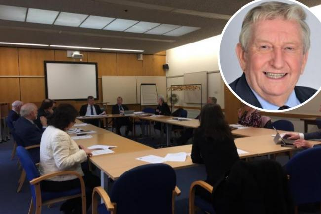 The meeting of Bromley's urgency committee where the new temporary powers were voted on and (inset) Bromley Mayor and former MP Nicholas Bennett.