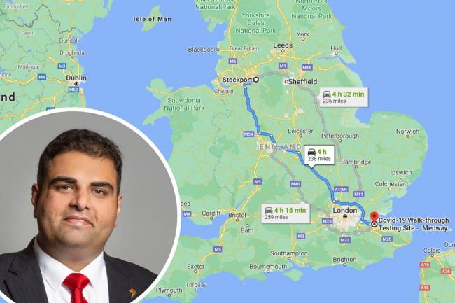 And I would drive 240 miles: Stockport MP Navendu Mishra. (Images: UK Parliament/Google Maps).