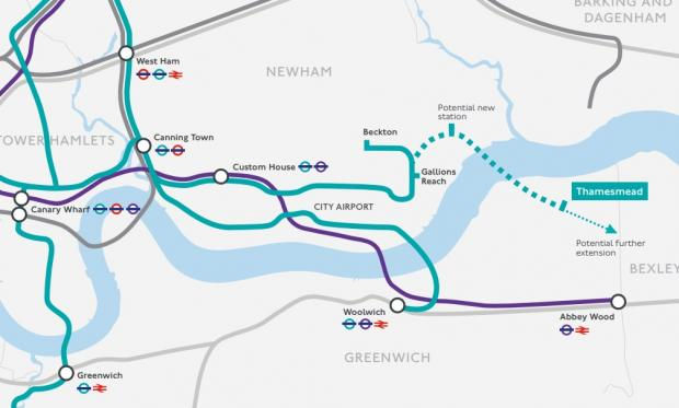 This Is Local London: The update comes as TfL prioritised a bid to extend the DLR to Thamesmead (in green), while uncertainty remains over the funding of Crossrail (purple).
