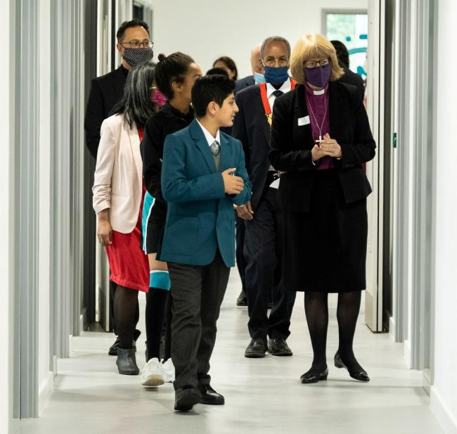 Official tour: the Bishop is given a guided tour of the Ada Lovelace site
