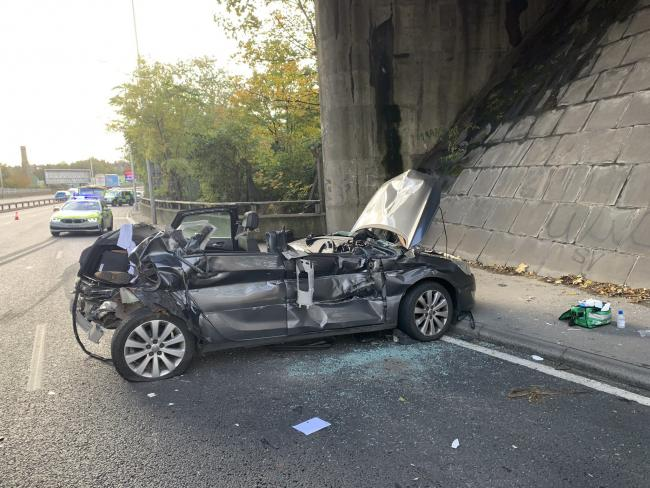 Photo by London Fire Brigade Greenwich of the A2 Sun in the Sands junction near the Blackwall Tunnel
