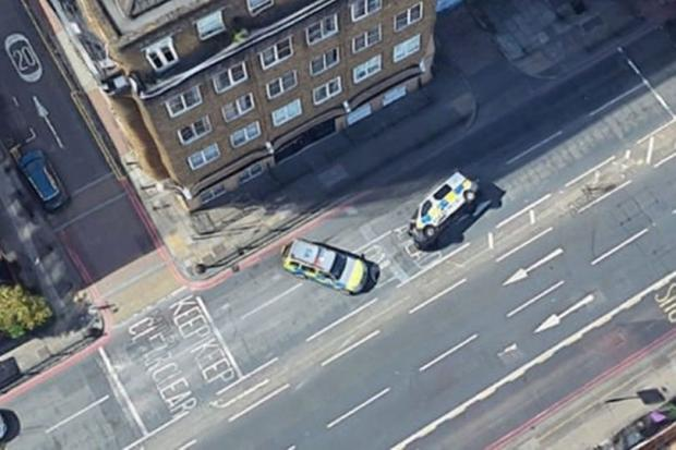 This Is Local London: The police cars pictured in London. Credit: Reddit/Google Maps