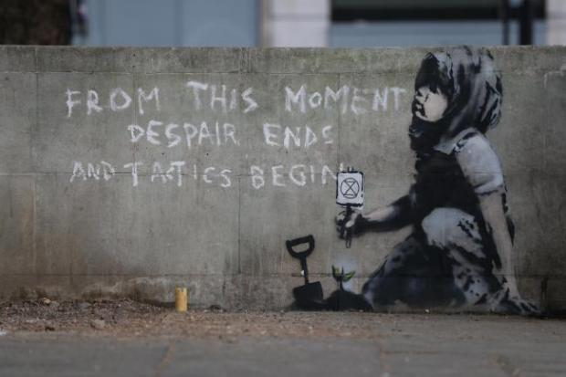 This Is Local London: The environmental artwork by Banksy sprung up on a wall in Marble Arch last year