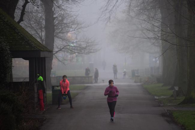 A runner in a foggy park