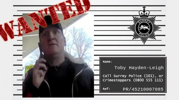 This Is Local London: Wanted posted for Toby Hayden-Leigh issued by Surrey Police