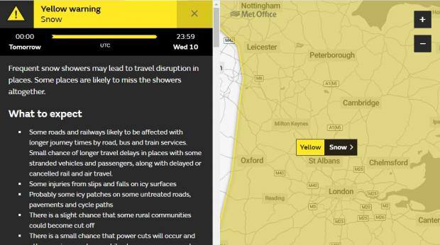 This Is Local London: The Met Office has issued a three day weather warning for snow (photo Met Office)