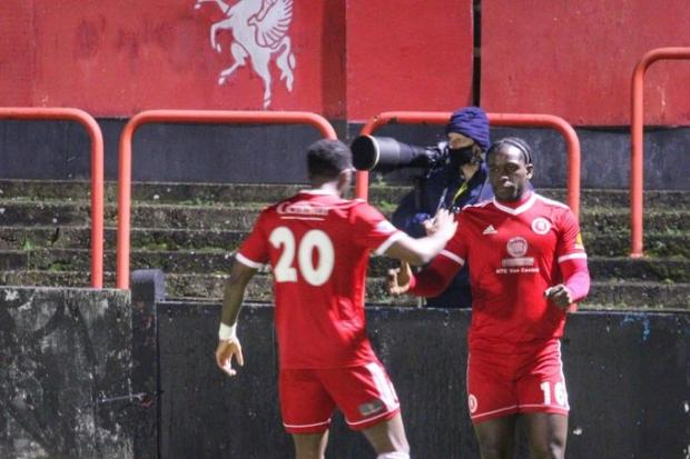 Olumide Durojaiye is congratulated after putting Welling ahead. Pictures by Stuart Fuller.