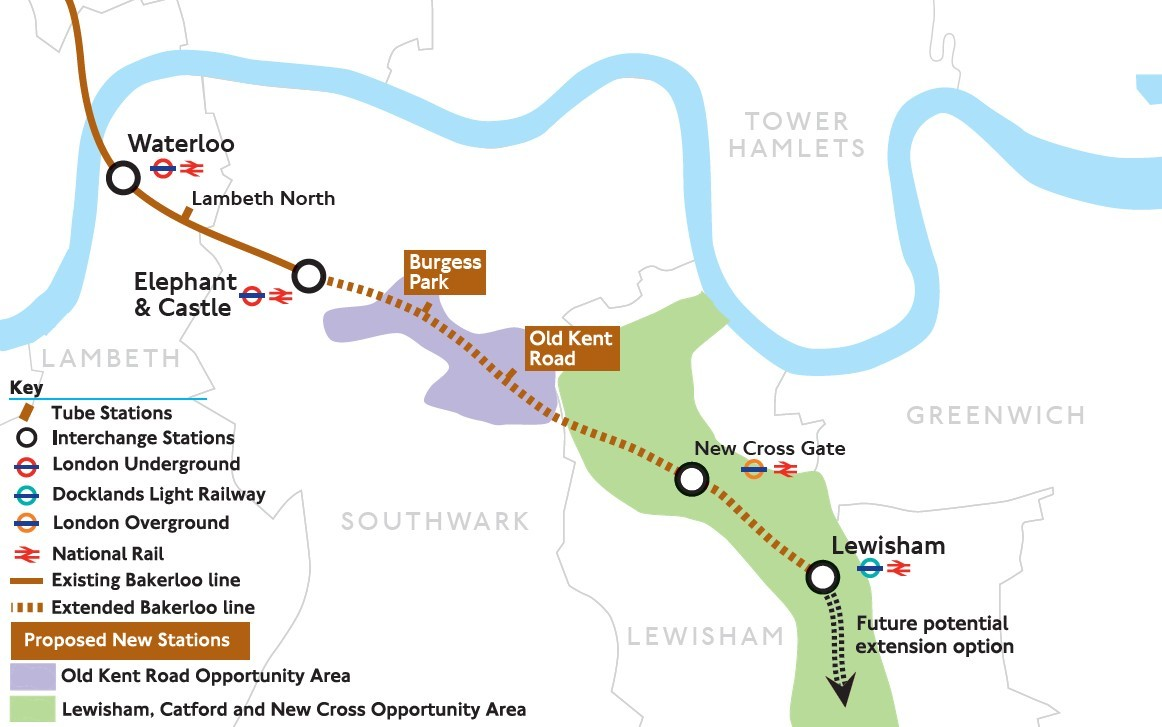 The proposed route of the Bakerloo Line extension. Credit: TfL