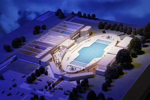An artist's impression of the multi-million pound renovated Hillingdon Lido