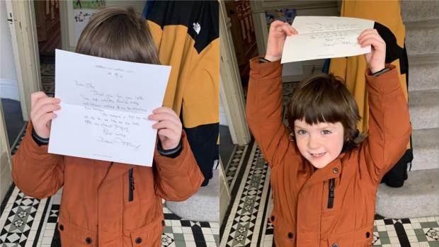 This Is Local London: Boy reassured by Sir David's kind letter.